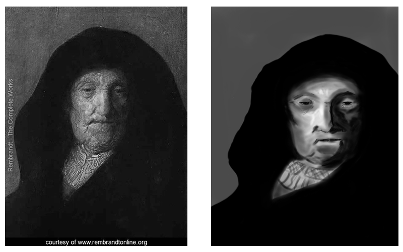 studio sull'uso della illuminazione da parte di Rembrant