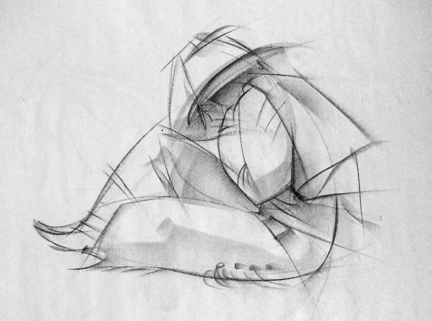 disegno realizzato durante gli studi per una animazione, questo disegno gestuale coglie le linee generali di una figura vestita. Si noti la variazione di spessore della linea: linee chiare applicate inizialmente, con linee più scure e sentori di dettaglio resi al minimo necessario.