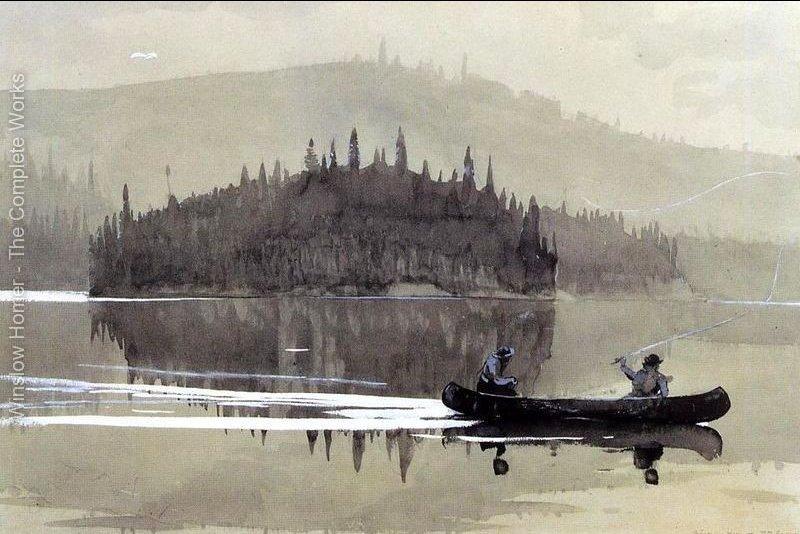 Winslow Homer - due uomini in canoa